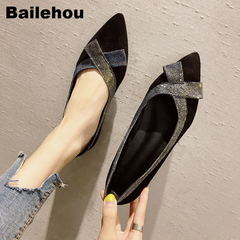 Bailehou Women Flats Pointed Toe Low Heel Ladies Shoes Autumn Sexy Female Shoes Bowknot Shallow Ballerina Flat Women Casual Shoe e lov women casual walking shoes graffiti aries horoscope canvas shoe low top flat oxford shoes for couples lovers
