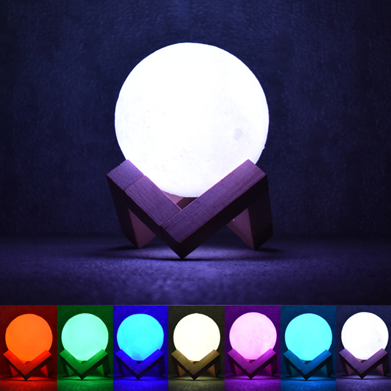 3D Printing Moon Lamp 7 Colors Change Moon Night Lamp USB Rechargerable Lunar Light Home Decor Romantic Gift With Wooden Stand icoco usb rechargeable led magnetic foldable wooden book lamp night light desk lamp for christmas gift home decor s m l size