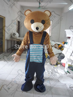 Export High Quality Brown Teddy Mascot Costumes With Blue Bib