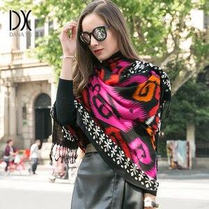 Image 2 - Bufanda de Cachemira de invierno, Bandana de lana de marca de lujo, manta a cuadros, bufanda cálida, bufanda a la moda y chal musulmán Hijab Foulard