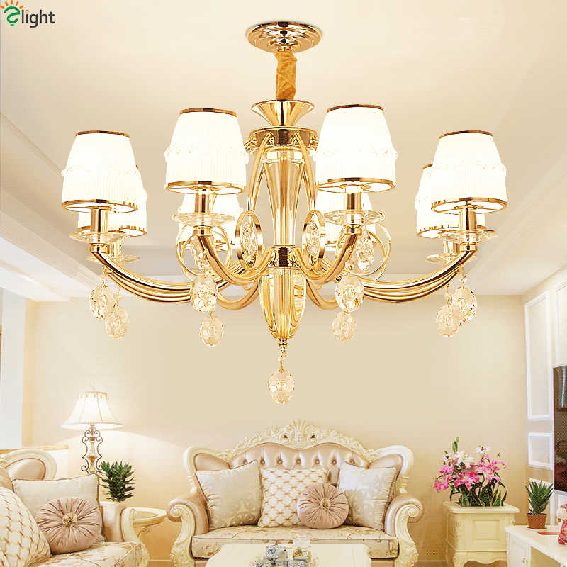 Modern Gold Metal Led Pendant Chandelier Lights Living Room Crystal Led Chandeliers Lighting Dining Room Hanging Lamp Fixtures
