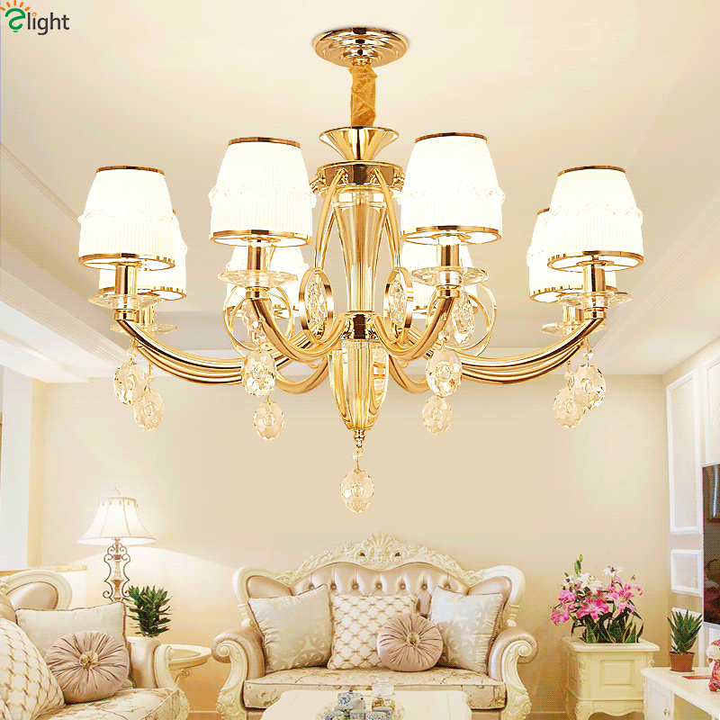 Modern Lustre Crystal Led Pendant Chandeliers Light Gold Metal Living Room Led Chandelier
