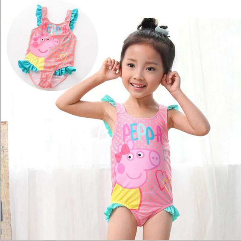 2018 Summer Gril /Baby Swimwear Peppa Pig One Piece Swimwear Strap Dress Kids Swimsuit Beachwear Surfing Swimming Suits