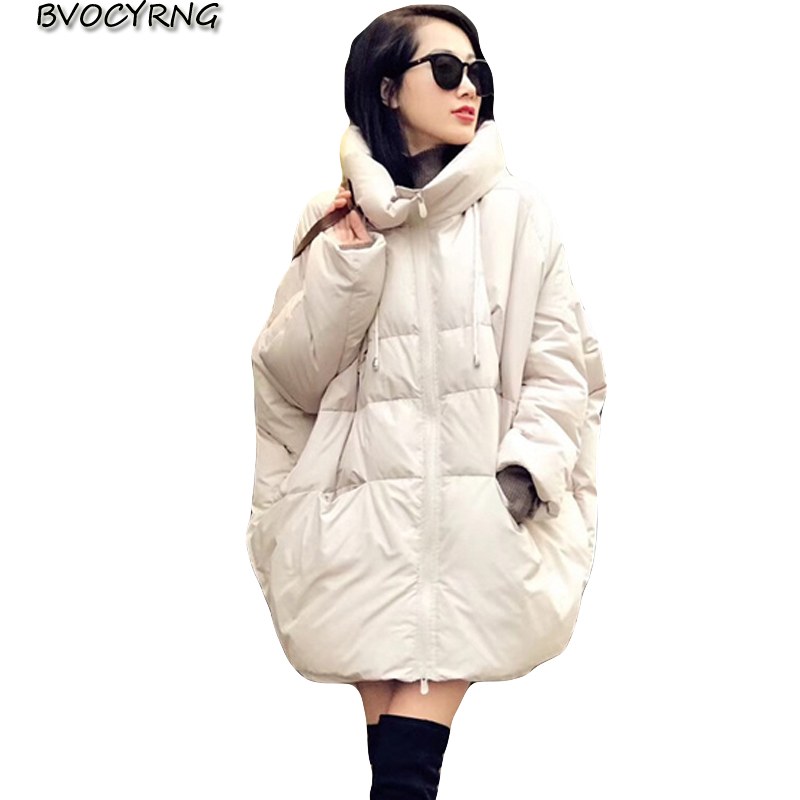 2018 European Winter New Hooded Loose Bread Clothing Women Fashion A Word Cloak Long Thick Down Jacket Coat Female Winter Tops
