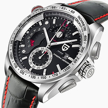 PAGANI DESIGN Waterproof Outdoor Calendar Chronograph Sports Leather & Stainless