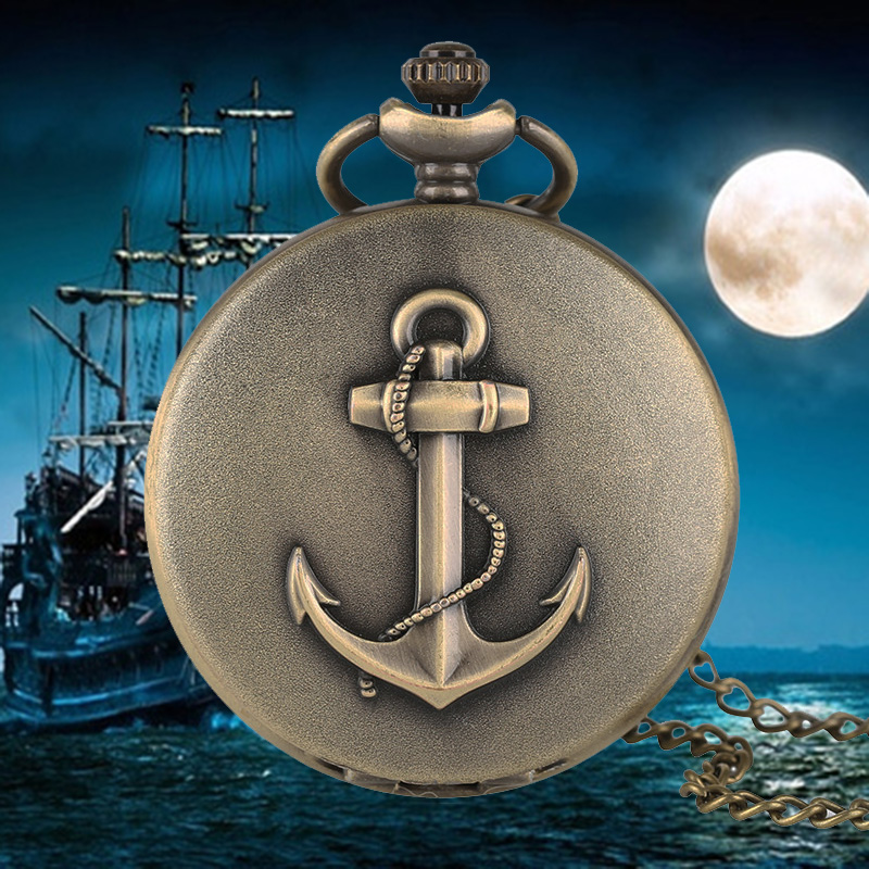 Retro Sailing Quartz Pocket Watch Anchor Pattern for Foremast Hand Marine Antique Necklace Chain Casual Men Watches Novel Gift unique smooth case pocket watch mechanical automatic watches with pendant chain necklace men women gift relogio de bolso