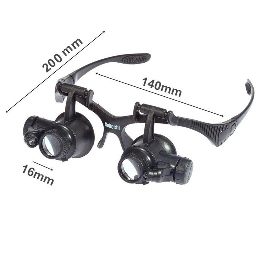Fejpánt 10X 15X 20X 25X LED-es szemüveg nagyító Órák ékszerek - Mérőműszerek - Fénykép 2