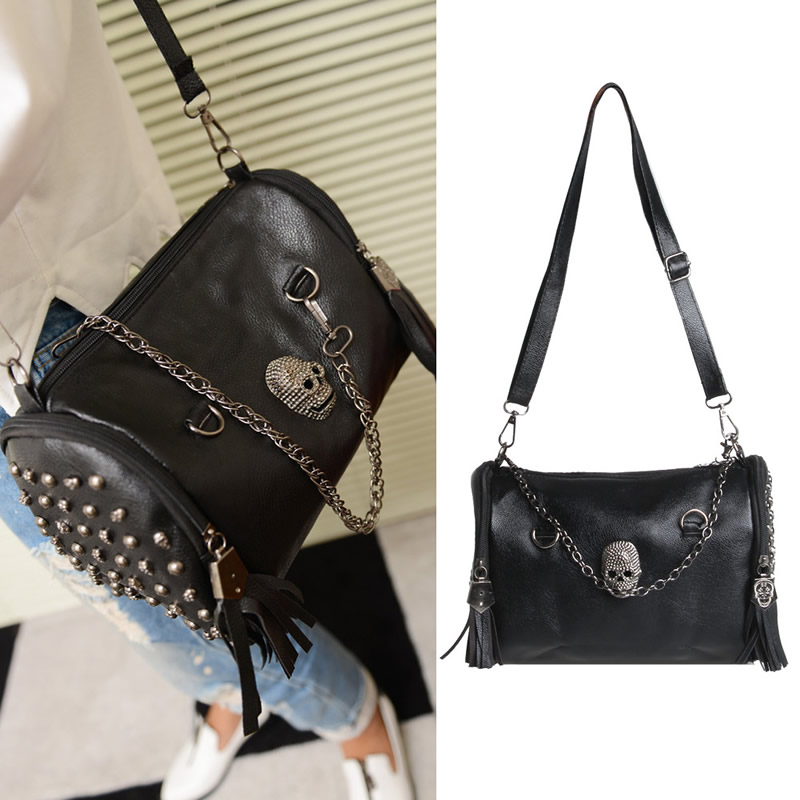 THINKTHENDO Womens Pu Leather Punk Rock Handbag Satchel Skull Rivet Tassel Shoulder Bag punk women s satchel with rivet and pu leather design