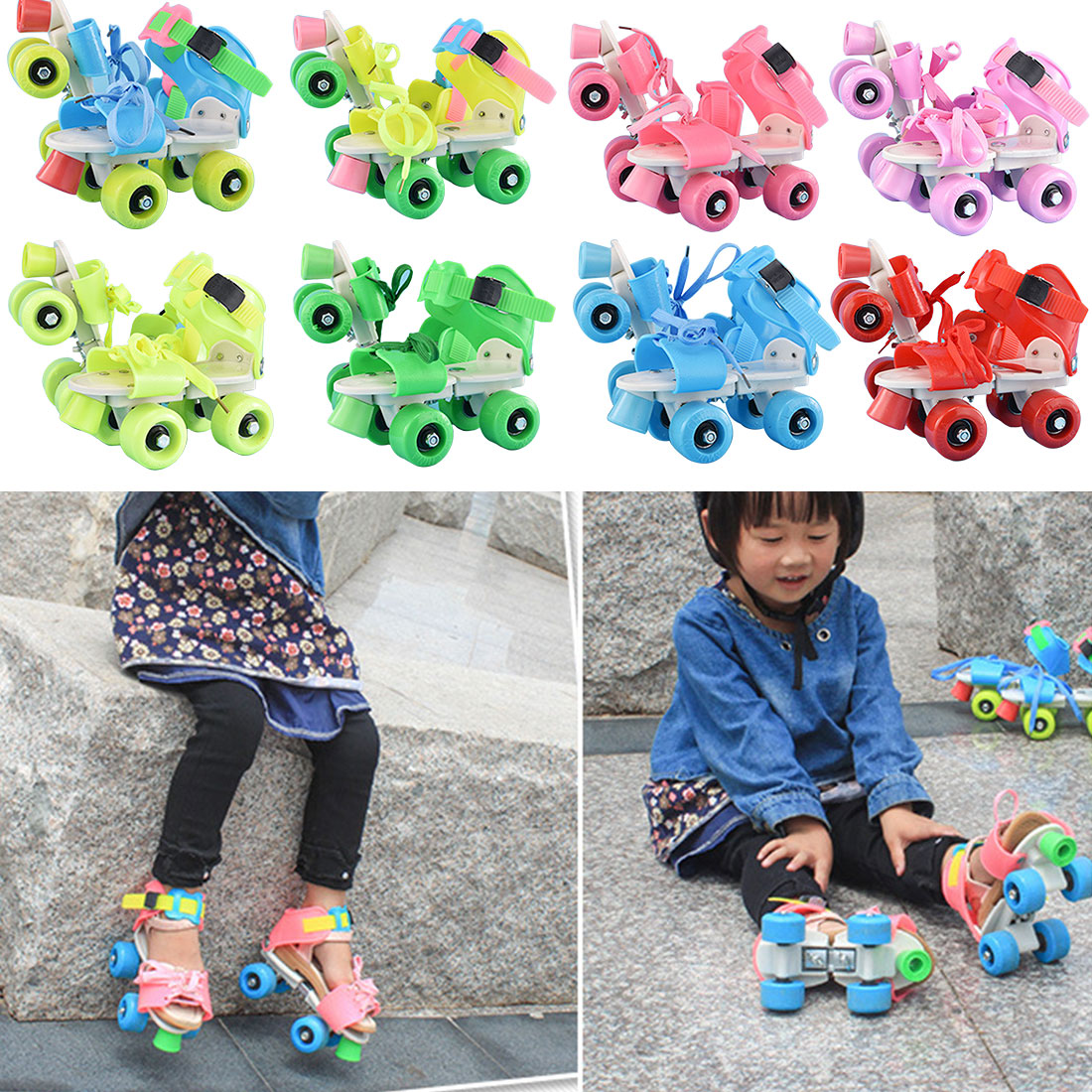 Brand New Children Roller Skates Double Row 4 Wheels Adjustable Size Skating Shoes Sliding Slalom Inline