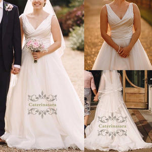 Ball Gown V Neck Sweep Brush Train Wedding Dresses Satin  Tulle Over Bride Gowns Made-To-Measure Ruffles Outdoor Party