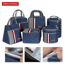 2019 Newest Fashion Picnic Bag Insulated Aluminum Foil Food Fresh Bags Green Red Stripe Thermal Portable Lunch Box Purse(China)