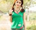 2015 nuevas mujeres del verano 100% de algodón blusas y camisas de estilo Chino tradicional bordado tops Cuello En V profundo camisa blusa femenina