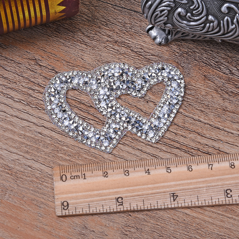 Double Heart Exquisite Rhinestone Stickers Heat Transfers For Clothes DIY Embroidery Applique For T-shirt Clothing Decor (10)