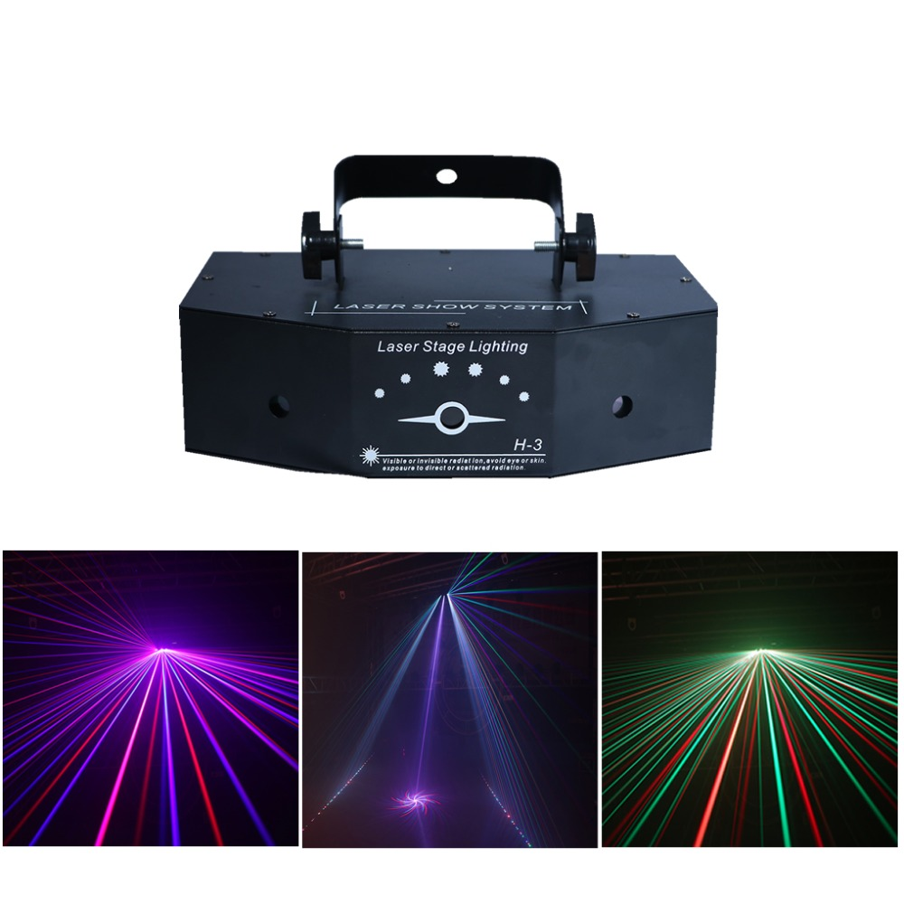 цены 3 Lens RGB Full Color Scan Beam Line Pattern Laser Lights DMX Sound AUTO DJ Party Home Show Bar Club Stage Lighting Effect H-3/P
