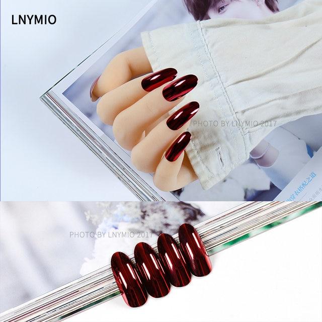 Online Shop 24Pcs Fashion metal fake nails long dark red metallic ...