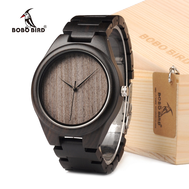 BOBO BIRD Mens Watches All Black Wooden Wristwatches with Wooden Band Watches for Men as Gift