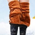 Women Winter Pants Fleeces Inside Warm Leggings Printed High Waist Footless Trousers Female Pencil Pants Boots Cut P8137
