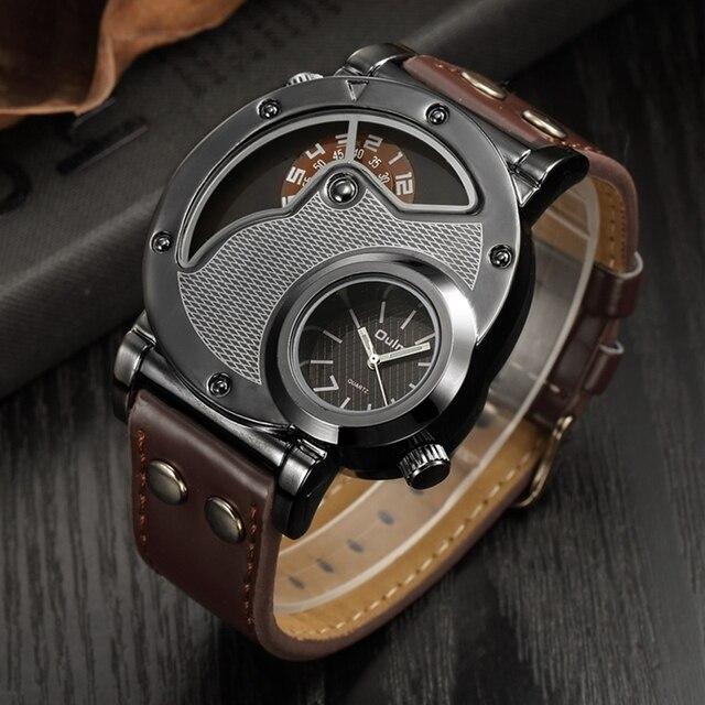 7f35a43c0244 Relojes de lujo marca diseñador Oulm para hombres reloj cuarzo doble hora  cuero Casual hombre deportivo masculino relogo