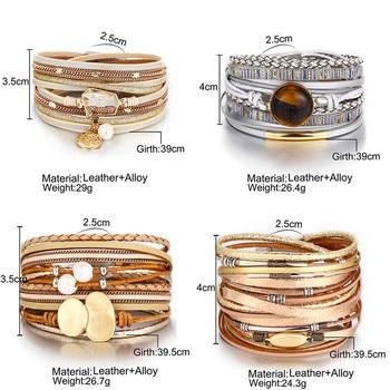 IF YOU Fashion Pearl Multilayer Leather Vintage Charm Pendant Bracelets 5
