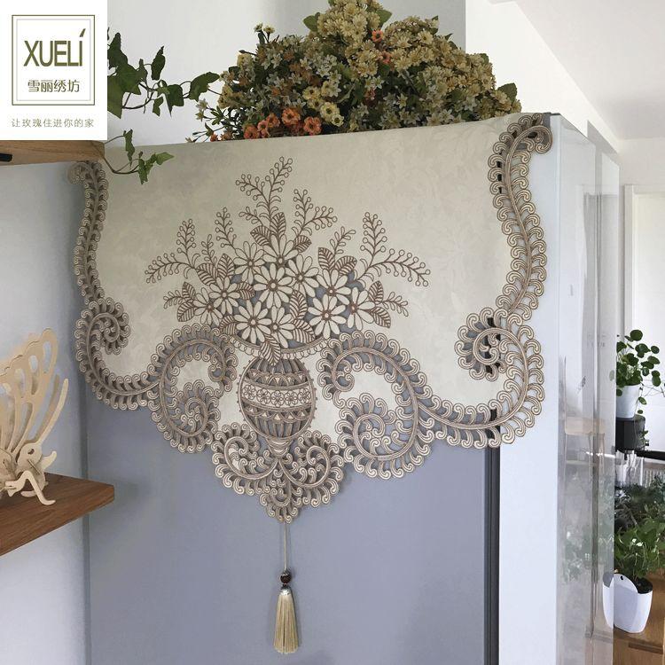 Luxueux fleurs marron dentelle broderie tissu art poussière couvre couverture de réfrigérateur