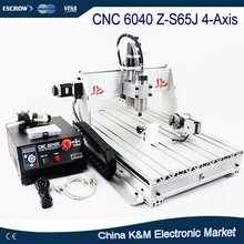 New CNC 6040 Z-S65J 4 Axis 3D wood engraving machine 6040Z-S60J PCB milling router with 800W spindle VFD water cooling