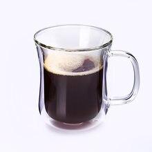 De Café De Vidro duplo Copos de Chá Criativo Drinkware Criativo Copo de Leite Caneca Caneca com Punho Isolado