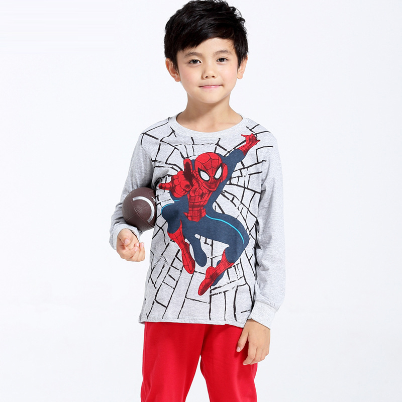 Spiderman Printed Pattern Kids Set Pajamas Set Boys Sleepwear Boys Clothes Kids Pjs Tiny Cottons Long Sleeve Top Boy Pants 6Yrs