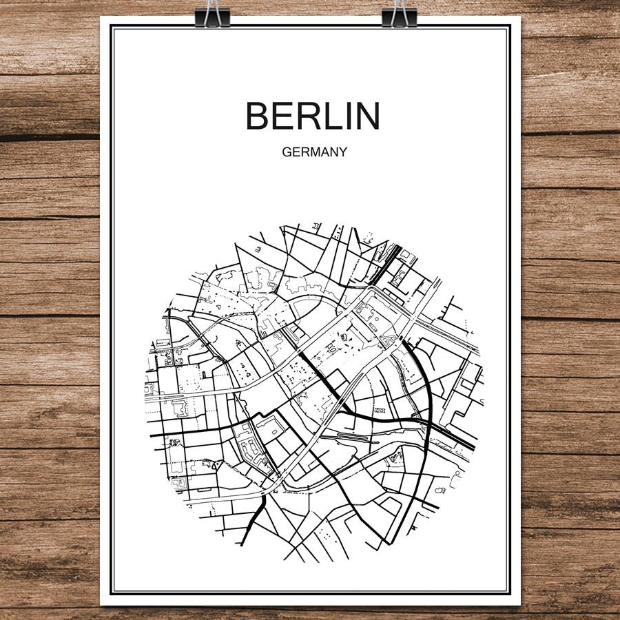 Berhmte World City Street Karte Berlin Deutschland Druck Poster Abstrakt Beschichtetes Papier Bar Cafe Wohnzimmer Dekoration