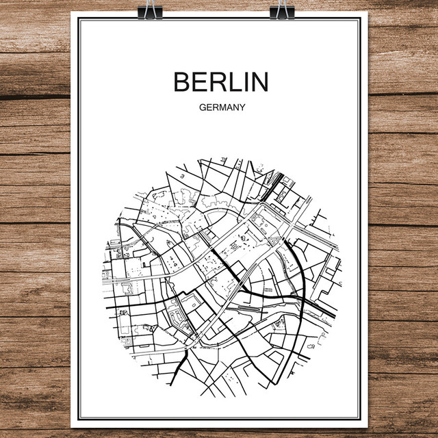 Berühmte World City Street Karte Berlin Deutschland Druck Poster ...