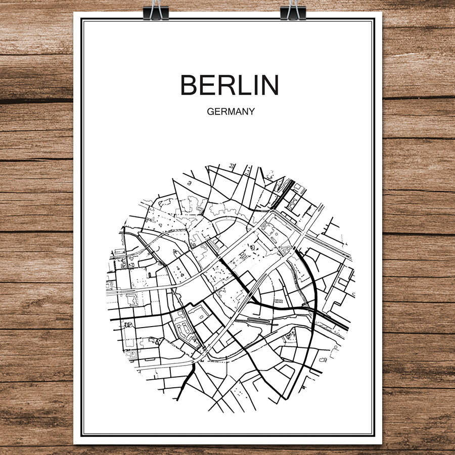 Map Of Germany To Print.Us 1 99 Famous World City Street Map Berlin Germany Print Poster Abstract Coated Paper Bar Cafe Living Room Home Decoration Wall Sticker In Wall