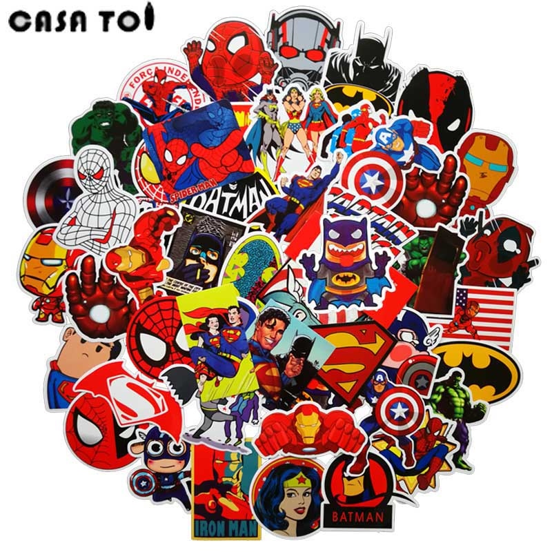 50 pcs Superhero Stickers wallpaper Decal Motorcycle Fridge Skateboard Doodle Funny Stickers for Auto Laptop Trunk 50 pcs mixed funny hit stickers for kids home decor jdm on laptop sticker decal fridge skateboard doodle stickers toy stickers
