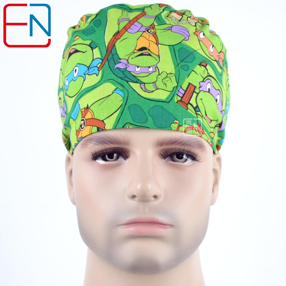 Hennar Surgical Medical Caps Mens Pure Adjustable Scrub Caps Cotton Doctor Nurse Pattern Printed Medical Uniforms Surgical Caps