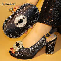 Black African shoes and bag set high heels sandals best selling ladies matching shoe and clutch for wedding and party