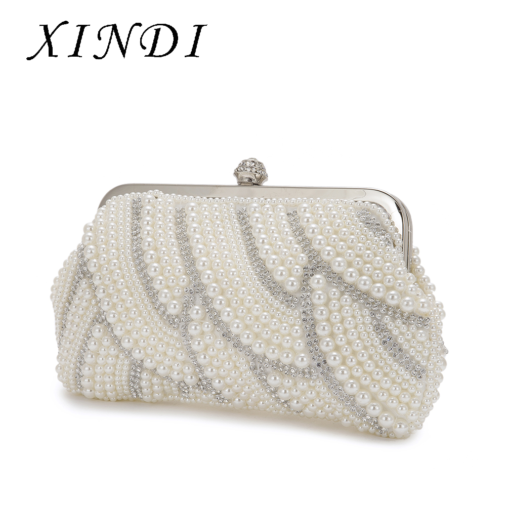 XINDI Women's Pearl Beaded Evening Bags Clutch Bag Handmade Wedding Bags Beige High quality for Wedding Party Chain Bag luxury luxury crystal clutch handbag women evening bag wedding party purses banquet