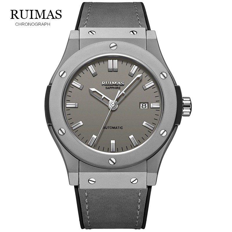 Image 2 - RUIMAS Top Luxury Brand Men Sports Military  Mechanical Watch Man Analog Date Clock Leather Strap Wristwatch Relogio Masculino-in Sports Watches from Watches