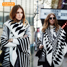 Bohemian Tassel Imitation Cashmere Shawl Blanket Winter Lady Wild Plaid Blanket Lengthened Thickened Split Shawl Travel