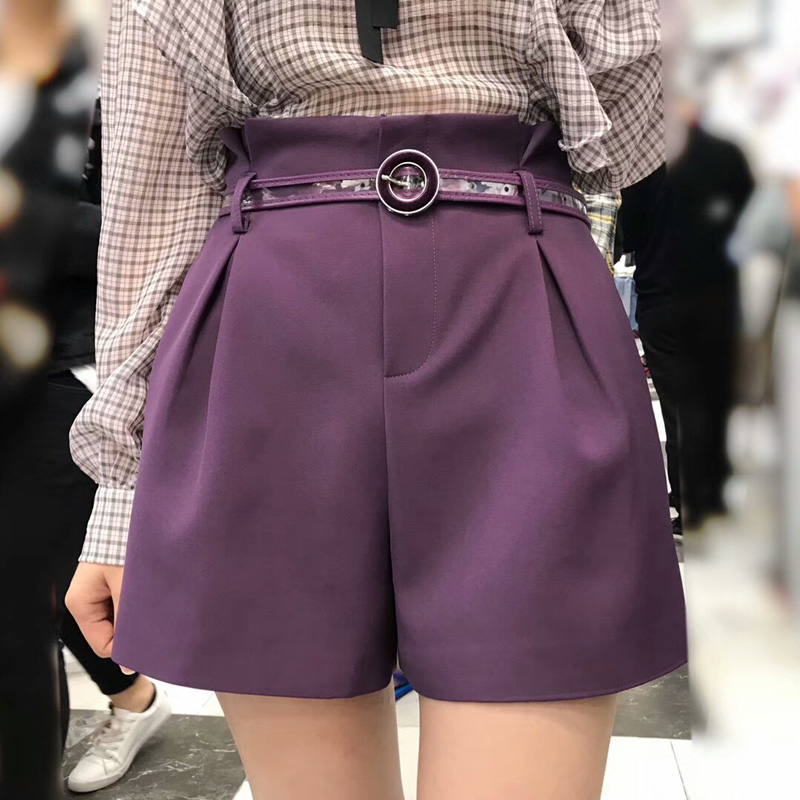 Qaulity Purple Slim Women   Shorts   Casual 2018 Summer High Waisted Hot   Shorts   Female Wide Leg   Shorts   Belt Pockets