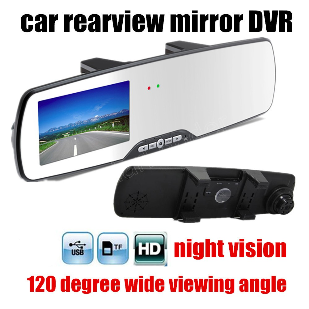 New arrival 2.7 inch HD Car Review Mirror Digital Video Recorder 120 degree Wide Angle Night Vision Motion Detection Car DVR image