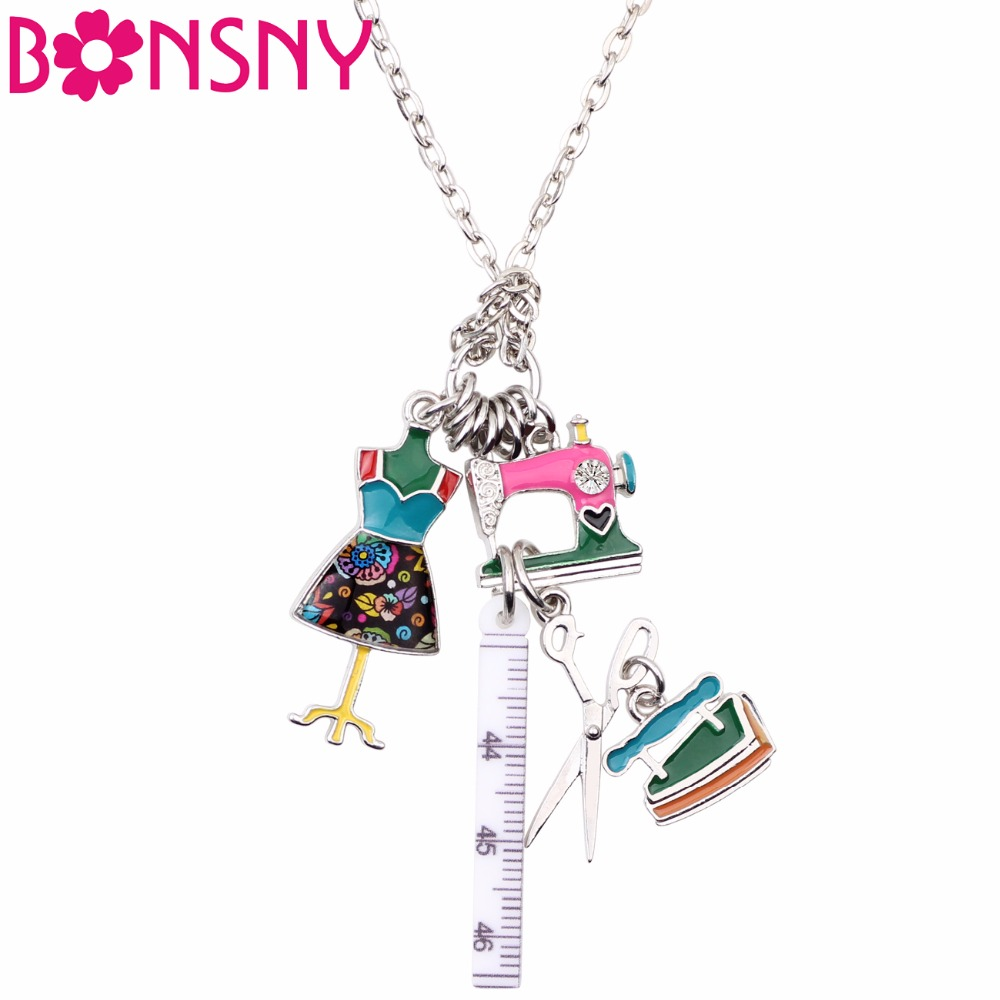 Bonsny Statement Chain Enamel Tailor Sewing Machine Scissors Ruler clothes stand Necklace Pendants Fashion Jewelry For Women