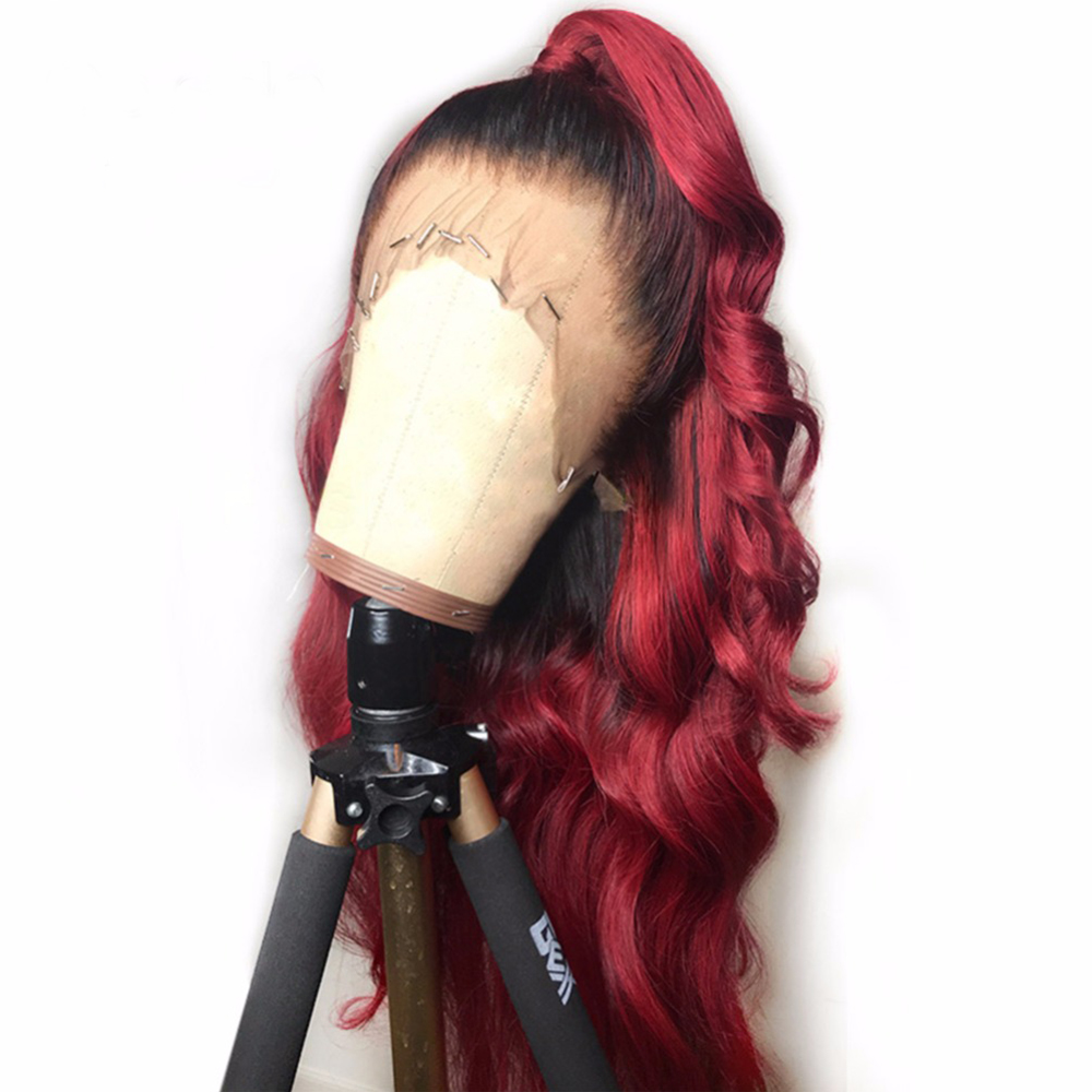 T1B 99J Loose Wave Lace Front Wigs 13x6 Burgundy Red Ombre Remy Brazlian Lace Front Human