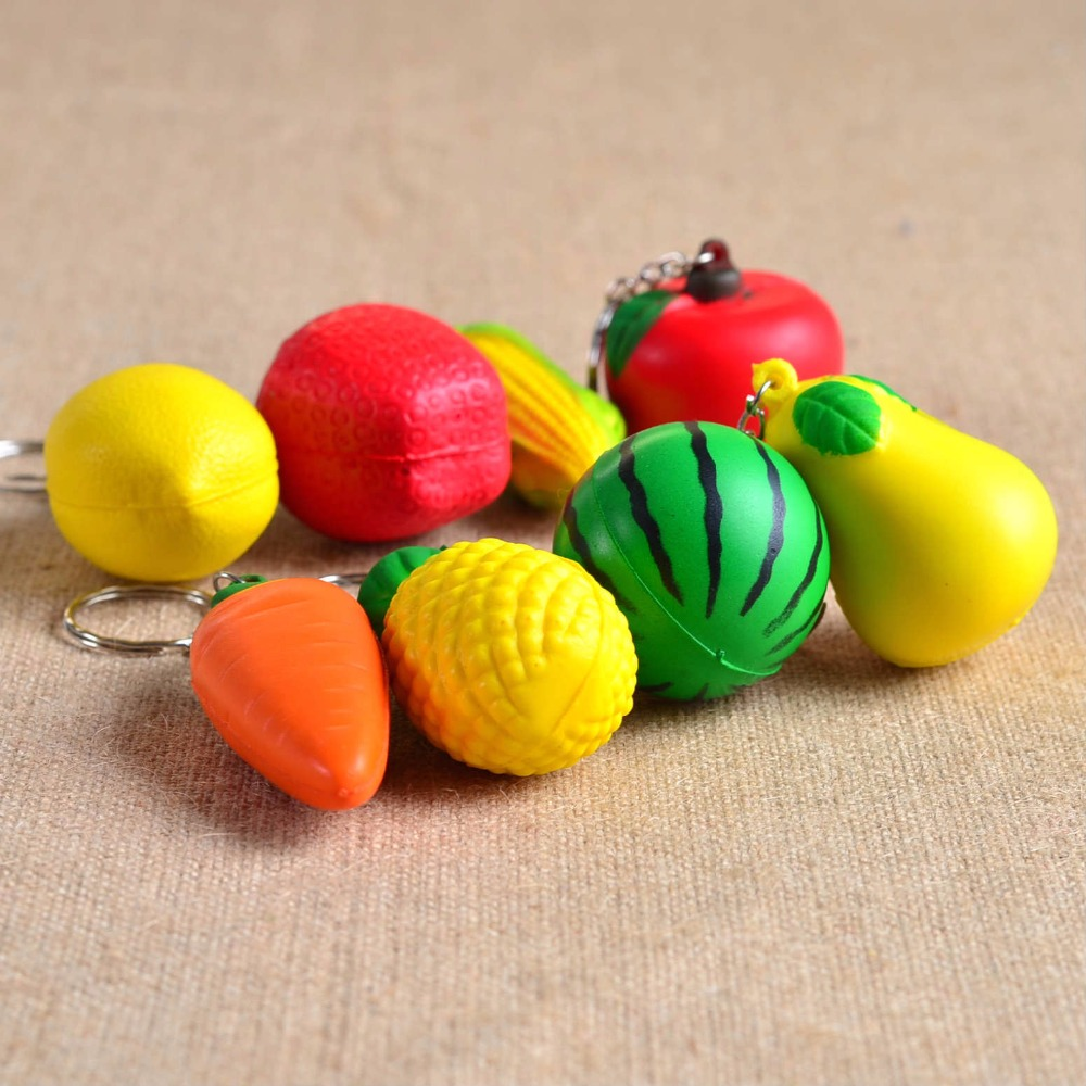 1PC Fruit Vegetable Keychain PU Keyring Jewelry Bag Pendant for Women Key Chain Holder Rings Metal Craft MY 010