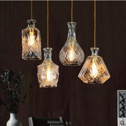 Nordic Criativo Garrafa LEVOU Pingente Luz Pendente De Teto Luminárias Com Abajur De Vidro da Lâmpada Entregando Lampen Colgantes