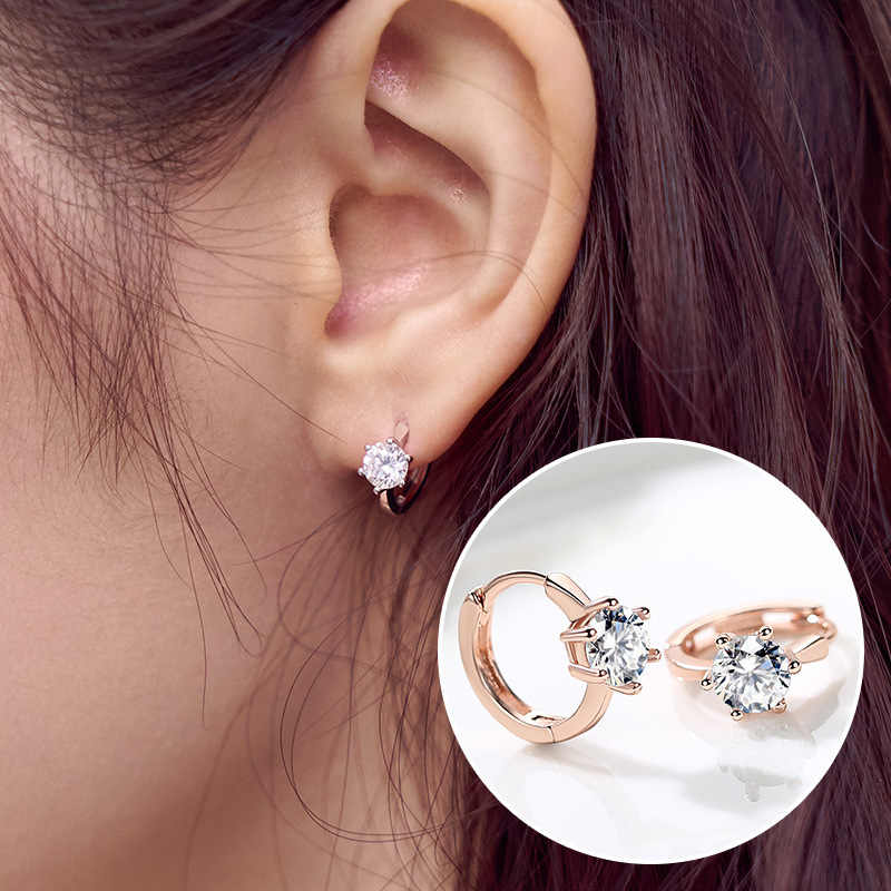 ZHOUYANG Stud Earrings For Women Classic Six Claw Clear AAA+Cubic Zirconia Rose Gold Color Fashion Jewelry For Girls KAE094