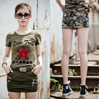 2017 new fashion women's cargo slim match short T shirts big size