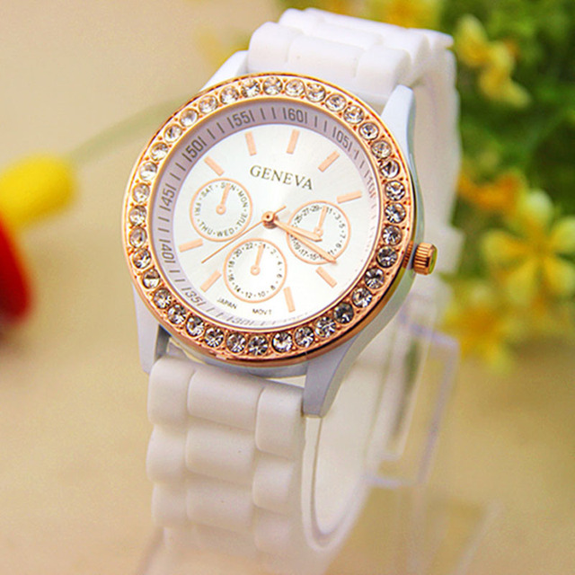 Women dress Watch Analog Quartz Jelly Golden Crystal Silicone Wrist Watch Reloje