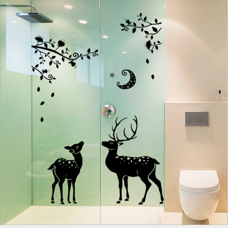 Zooyoo Cute Moon Sika Deer Tree Merry Window Bathroom Wall Sticker Pvc Door Glass Closet