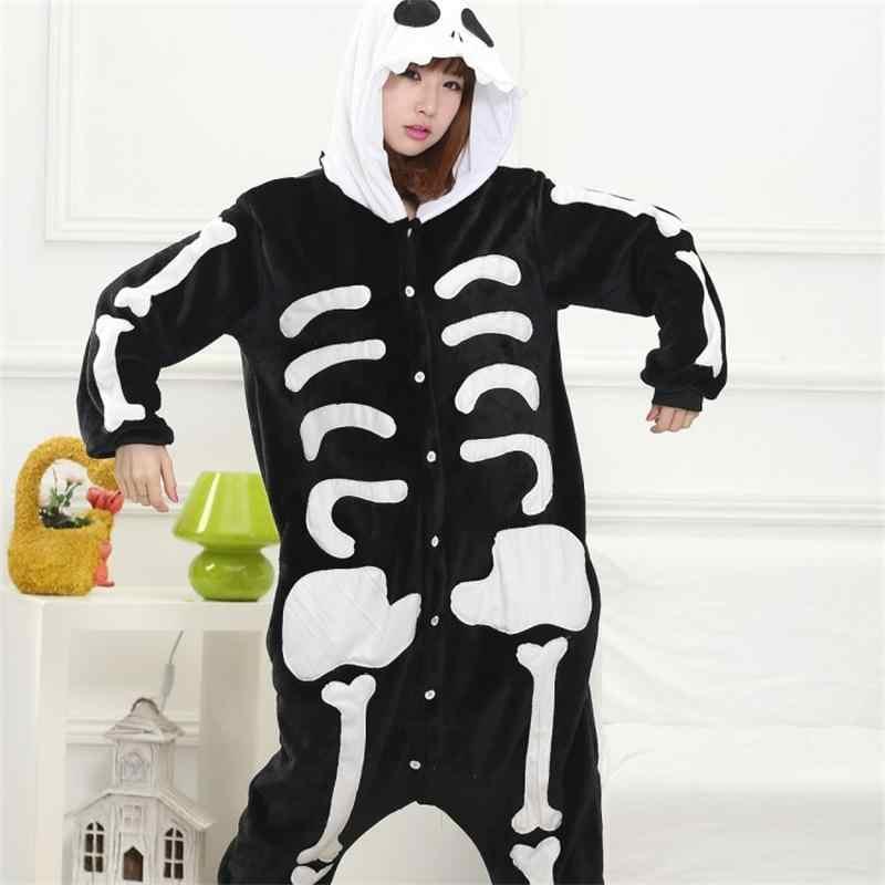 e70c44a42a7bb Skull Kigurumi Onesie Adult Women Scary Skeleton Pajamas Flannel Warm Loose  Soft Sleepwear Onepiece Winter Jumpsuit