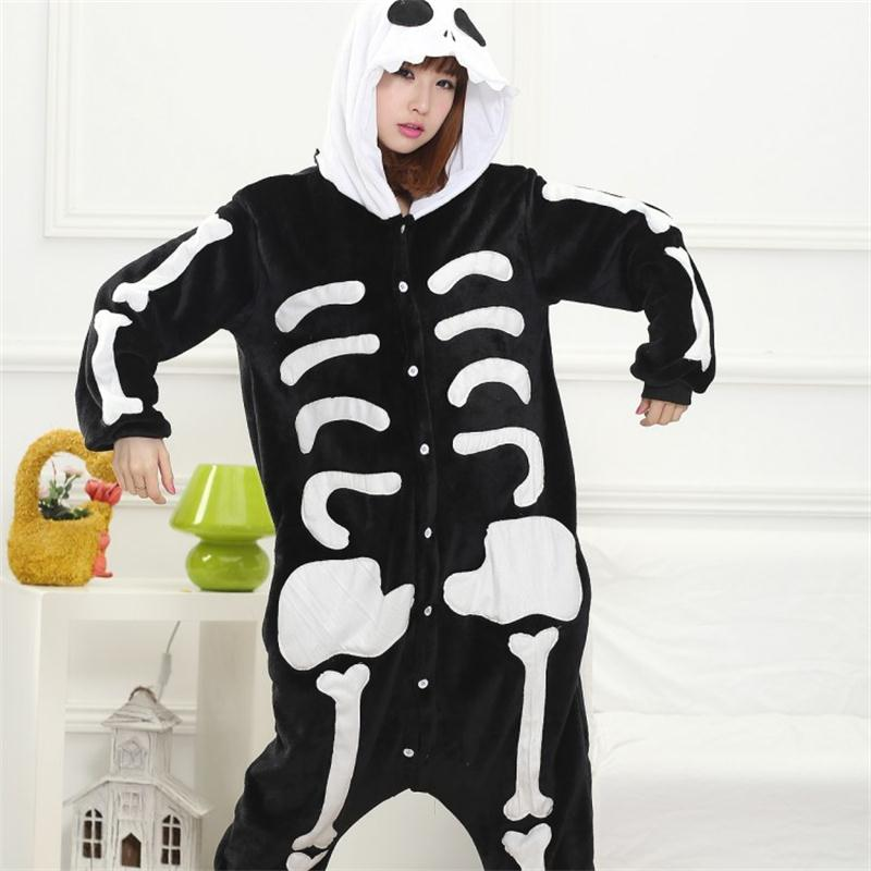 Skull Kigurumi Onesie Adult Women Scary Skeleton Pajamas Flannel Warm Loose Soft Sleepwear Onepiece Winter Jumpsuit Cosplay