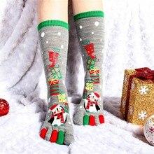 Женские разноцветные рождественские носки, зимние милые хлопчатобумажные забавные носки с пятью пальцами, женские короткие носки, Рождественский подарок# BF