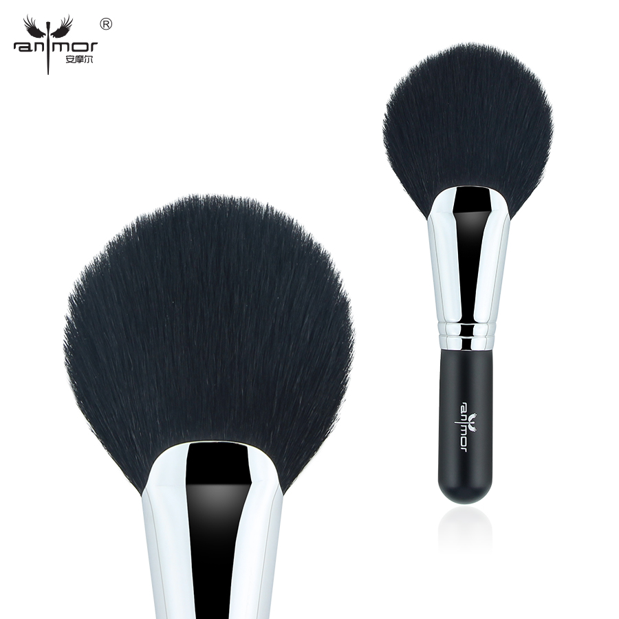 Anmor Top Quality Oval/Angled Fan Shaped Large Powder Brush Pure Goat Hair Extremely Smooth Soft Convenient Makeup Brushes top quality foundation brush angled makeup brush